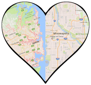 A heart with Sydney and Minneapolis inside.